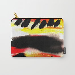 Bold Painterly Abstract Stripes In Black Red and Yellow Carry-All Pouch