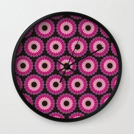 Purple pink circled polka dots Wall Clock