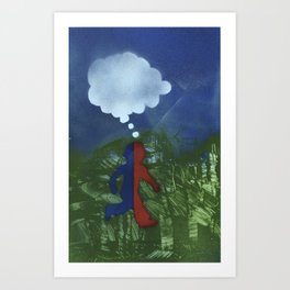 Red Blue Boy Art Print