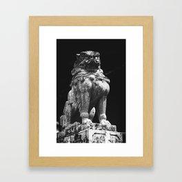 Japanese Lion Statue in sanctuary Framed Art Print