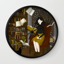 floating books Wall Clock
