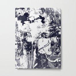 Abstract art giclee print, navy blue and white print, modern painting wall art print, acrylic abstra Metal Print