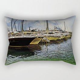 Boat dock in Croatia (Cartoon-Art) Rectangular Pillow
