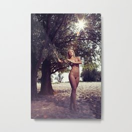Beautiful Nude woman standing under a tree Metal Print