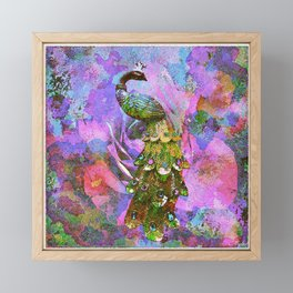 Peacock Watercolor Framed Mini Art Print