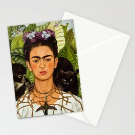 SELF PORTRAIT WITH THORN NECKLACE AND HUMMING BIRD - FRIDA KAHLO Stationery Cards