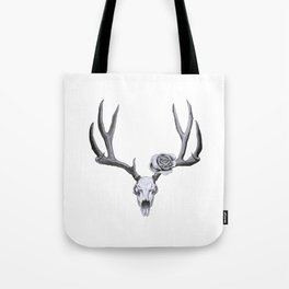 Stag skull with rose Tote Bag