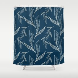 Indigo Foliage #society6 #pattern #indigo Shower Curtain