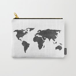 Metallic Graphite Textured World Map Carry-All Pouch