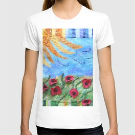 Field of Poppies Quilted Painting T-shirt