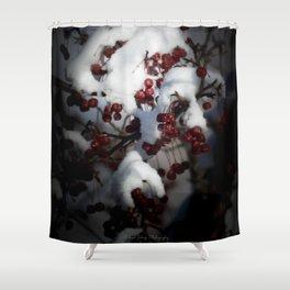 Snowy Flowering Crab Berries Shower Curtain