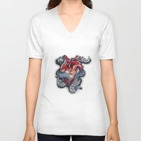 cthulu V-neck T-shirts featuring Cthulhu Heart by lunaevayg