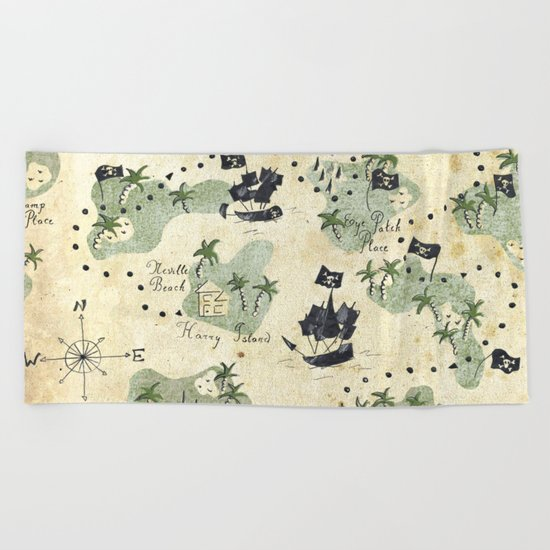 Hand Drawn Pirate Map Beach Towel