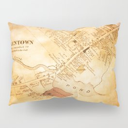 Allentown, New Jersey Map and Mill by Ericka O'Rourke Pillow Sham