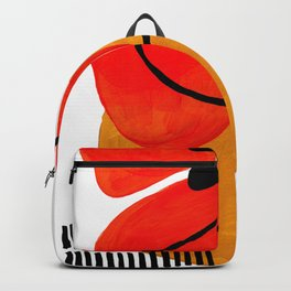 Mid Century Modern Abstract Vintage Pop Art Space Age Pattern Orange Yellow Black Orbit Accent Backpack