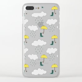 Rainy Day Pattern Clear iPhone Case