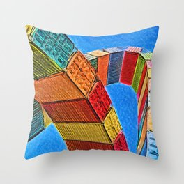 A Rainbow Of Shipping Containers Throw Pillow