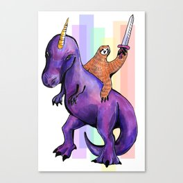 sloth dinosaur unicorn Canvas Print