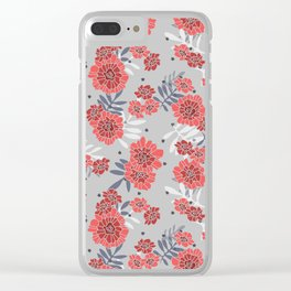 Crimson and Silver Floral Clear iPhone Case