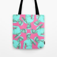 lucas david Tote Bags featuring David by Cale potts Art