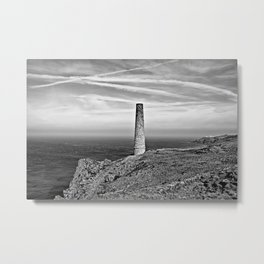 Levant to Pendeen View Black and White Metal Print