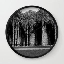 Black & White Date Palms Yuma Pencil Drawing Photo Wall Clock