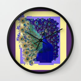 Puce Purple Blue Peacock Abstract Art Wall Clock