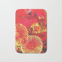 Red Abstract Pattern Bath Mat