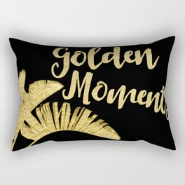 Golden Moments Glamorous Typography And Tropical Leaf Rectangular Pillow