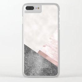 Rose grunge - geo layers II Clear iPhone Case