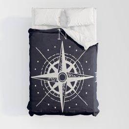 Navy Nautical - White Compass Comforters