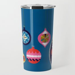 Retro Christmas Baubles on a dark background Travel Mug