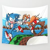 sonic Wall Tapestries featuring Sonic and Tails by Jenn Lantrip