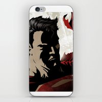 man of steel iPhone & iPod Skins featuring MAN OF STEEL by Taylor Callery Illustration