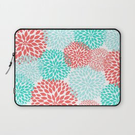 Coral Teal Dahlia Bouquet Laptop Sleeve