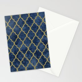 Classic Quatrefoil Lattice Pattern 428 Blue and Gold Stationery Cards