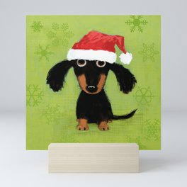 Dachshund Santa Clause   Wiener Dog Christmas Mini Art Print