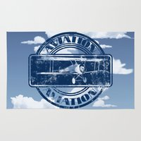 aviation Area & Throw Rugs featuring Retro Aviation Art by MacDonald Creative Studios