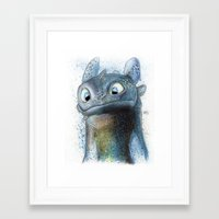 toothless Framed Art Prints featuring Toothless by Luke Jonathon Fielding