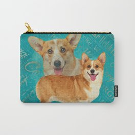 Corgi Collage Abstract Mixed Media Carry-All Pouch