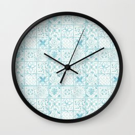 Light Blue Watercolor Painted Tiles  Wall Clock