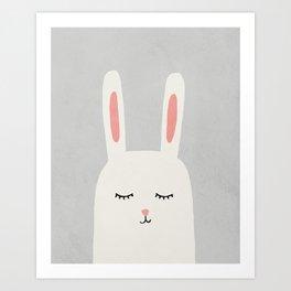 Rabbit Bunny - Mid century modern kids art - Children's art - Kids decor - Nursery room Art Print