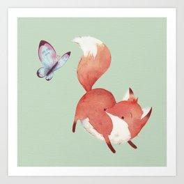 Fox & Butterfly Art Print