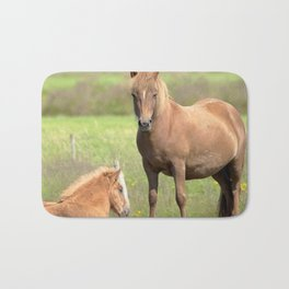 Watercolor Horse 22, Icelandic Pony, Höfn, Iceland, Momma and Her Foal Bath Mat
