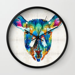 Colorful Sheep Art - Shear Color - By Sharon Cummings Wall Clock