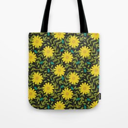 Sunflowers on Black Tote Bag