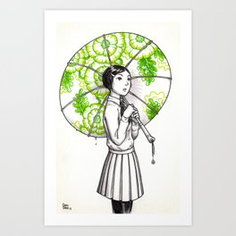 Elemental Schoolgirls  -  Bloom Art Print