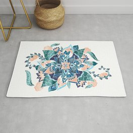 Modern coral blue watercolor floral illustration  Rug