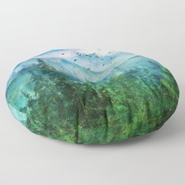 Spring Mountainscape Floor Pillow