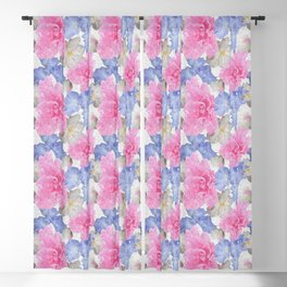 Pink Glad Blue Iris Begonia Flowers Blackout Curtain